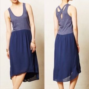 Anthropologie Left of Center Tulipan Blue Dress XS